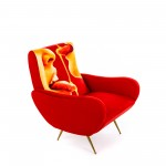 WOODEN PADDED ARMCHAIR 'TOILETPAPER' Cm.70x79 h.86 - HONEY