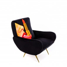 FIREPROOF PADDED ARMCHAIR 'TOILETPAPER' Cm.70x79 h.86 - TONGUE ON BLACK