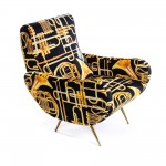 WOODEN PADDED ARMCHAIR 'TOILETPAPER' Cm.70x79 h.86 - TRUMPETS