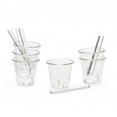 COFFEE SET 6 CUPS + 6 STIRERS GLASSES