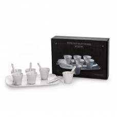 COFFEE SET 6 CUPS + 6 STIRERS + 1 TRAY IN PORCELAIN CM. 18,5X27