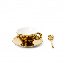 'FINGERS' TEACUP WITH SAUCER AND TEASPOON IN PORCELAIN