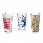 'HYBRID-CLARICE' SET OF 3 GLASS ø Cm.8,5-9,1 h. 14,8-15,2