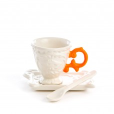 'I-WARES' COFFEE SET IN PORCELAIN WITH COLOURED HANDLE - ORANGE