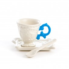 'I-WARES' COFFEE SET IN PORCELAIN WITH COLOURED HANDLE - LIHGT BLUE