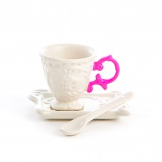 'I-WARES' COFFEE SET IN PORCELAIN WITH COLOURED HANDLE - FUCHSIA