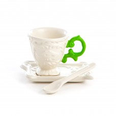 'I-WARES' COFFEE SET IN PORCELAIN WITH COLOURED HANDLE - GREEN