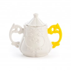 'I-WARES SUGAR BOWL' IN PORCELAIN ø Cm.13 h.15 WITH COL. HANDLES-YELLOW