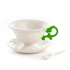 'I-WARES' SET IN PORCELAIN WITH COLOURED HANDLES - GREEN