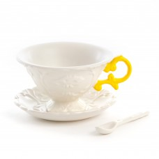'I-WARES' SET IN PORCELAIN WITH COLOURED HANDLES - YELLOW