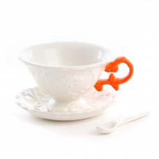 'I-WARES' SET IN PORCELAIN WITH COLOURED HANDLES - ORANGE