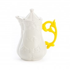 'I-WARES' TEAPOT IN PORCELAIN ø Cm.13 h.23 WITH COL. HANDLES - YELLOW