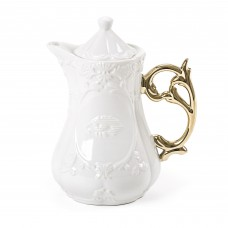 'I-WARES' TEAPOT IN PORCELAIN ø Cm.13 h.23 WITH COL. HANDLES GOLD