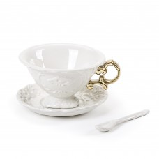 'I-WARES' TEA SET IN PORCELAIN WITH COLOURED HANDLES GOLD