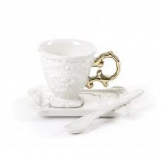 'I-WARES' COFFEE SET IN PORCELAIN WITH COLOURED HANDLE GOLD