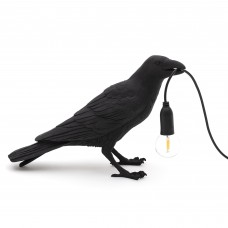 'BIRD LAMP-UK' RESIN LAMP Cm.29,5x12 h.18,5 - WAITING BLACK OUTDOOR