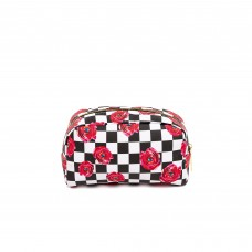 'TOILETPAPER' PRINTED PU BEAUTY-CASE Cm. 23x8 h.13 - ROSES ON CHECK