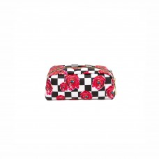 'TOILETPAPER' PRINTED PU CASE Cm. 20,5x7 h.9 - ROSES ON CHECK