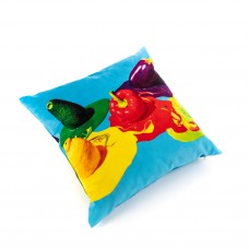 POLYESTER CUSHION WITH PLUME PADDING 'TOILETPAPER' Cm.50x50 - VEGETABLES