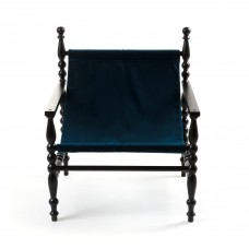 WOODEN ARMCHAIR BLACK 'HERITAGE' CLOTH BLUE