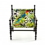 WOODEN ARMCHAIR BLACK 'HERITAGE' CLOTH PARROTS
