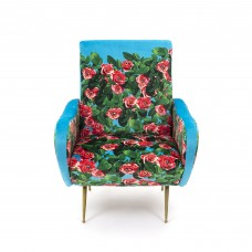UPHOLSTERED WOODEN ARMCHAIR 'TOILETPAPER' Cm.70x79 h.86 - ROSES
