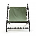 WOODEN FOLDABLE DECKCHAIR BLACK 'HERITAGE' CLOTH GREEN