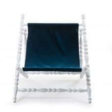 WOODEN FOLDABLE DECKCHAIR WHITE 'HERITAGE' CLOTH BLUE