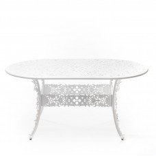ALUMINIUM OVAL TABLE 'INDUSTRY COLLECTION' ø Cm.70 h.74 - WHITE