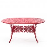 ALUMINIUM OVAL TABLE 'INDUSTRY COLLECTION' ø Cm.70 h.74 - RED