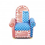 RECLINABLE UPHOLSTERED ARMCHAIR 'LAZY CHAIR' Cm.92x85 h.48/108 - USA