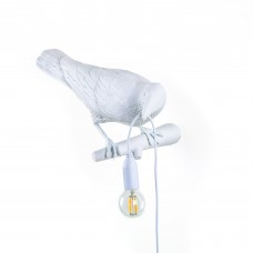 'BIRD LAMP' RESIN LAMP Cm.32,8x14,5 h.12,3 - LOOKING WHITE RIGHT OUTDOOR
