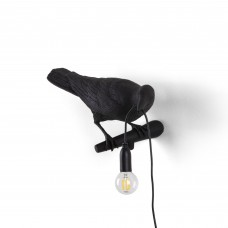 'BIRD LAMP'RESIN LAMP Cm.32,8x14,5 h.12,3 - LOOKING RIGHT BLACK OUTDOOR