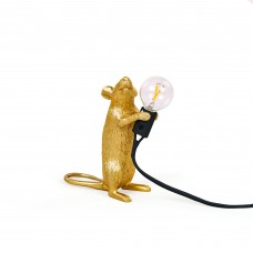 'MOUSE LAMP STEP-GOLD-UK'RESIN LAMP Cm6x13,3 h14,5-STANDING BLACK CABLE