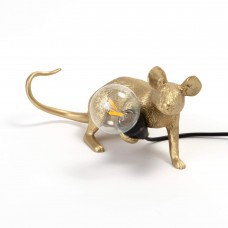 'MOUSE LAMP LOP-GOLD' RESIN LAMP Cm.6,2x21 h.8,1 -LYING DOWN USB