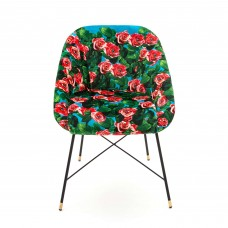 UPHOLSTERED CHAIR 'TOILETPAPER' Cm.60x50 h.72 - ROSES WITH EYES