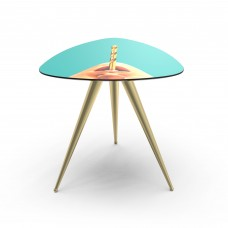 'TOILETPAPER' WOODEN TABLE WITH METAL LEGS Cm.57x57 h.48 - DRILL