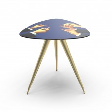 'TOILETPAPER' WOODEN TABLE WITH METAL LEGS Cm.57x57 h.48 - LIPSTICKS