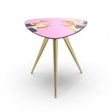 'TOILETPAPER' WOODEN TABLE WITH METAL LEGS Cm.57x57 h.48 -PINK LIPSTICKS