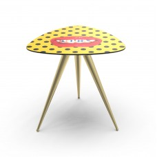 'TOILETPAPER' WOODEN TABLE WITH METAL LEGS Cm.57x57 h.48 - SHIT