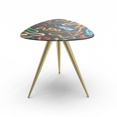 'TOILETPAPER' WOODEN TABLE WITH METAL LEGS Cm.57x57 h.48 - SNAKES