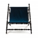 WOODEN FOLDABLE DECKCHAIR BLACK 'HERITAGE' CLOTH BLUE