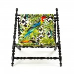 WOODEN FOLDABLE DECKCHAIR BLACK 'HERITAGE' CLOTH PARROTS