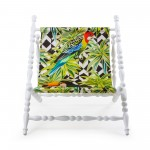 WOODEN FOLDABLE DECKCHAIR WHITE 'HERITAGE' CLOTH PARROTS