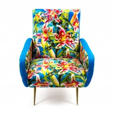 UPHOLSTERED WOODEN ARMCHAIR 'TOILETPAPER' Cm.70x79 h.86 - FLOWERS