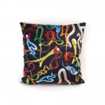 POLYESTER CUSHION WITH PLUME PADDING 'TOILETPAPER' Cm.50x50 - SNAKES