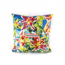 """POLYESTER CUSHION WITH PLUME PADDING """"TOILETPAPER"""" Cm.50x50 - FLOWERS WITH HOLES"""