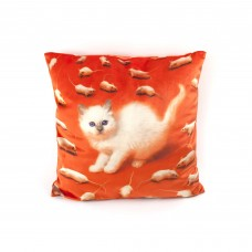"""POLYESTER CUSHION WITH PLUME PADDING """"TOILETPAPER"""" Cm.50x50 - KITTEN"""