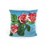 "POLYESTER CUSHION WITH PLUME PADDING ""TOILETPAPER"" Cm.50x50 - ROSES"