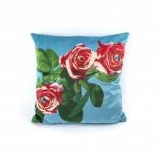 """POLYESTER CUSHION WITH PLUME PADDING """"TOILETPAPER"""" Cm.50x50 - ROSES"""